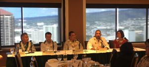 Panelists Governor David Ige, Vassilis Syrmos, Pono Chong, Tarik Sultan, and Chenoa Farnsworth